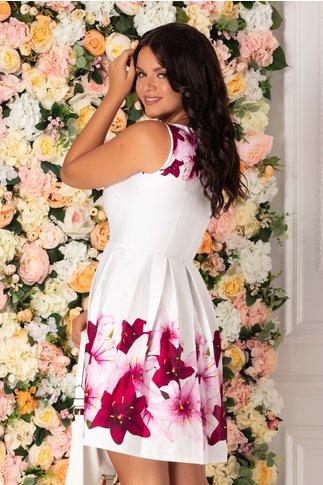 Rochie Ilinca alba cu imprimeu floral in nuante de fucsia si roz