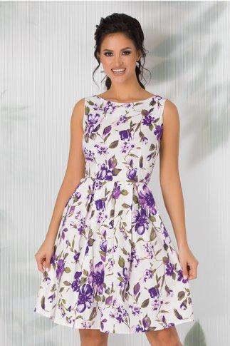 Rochie Ilinca alba cu imprimeu floral mov