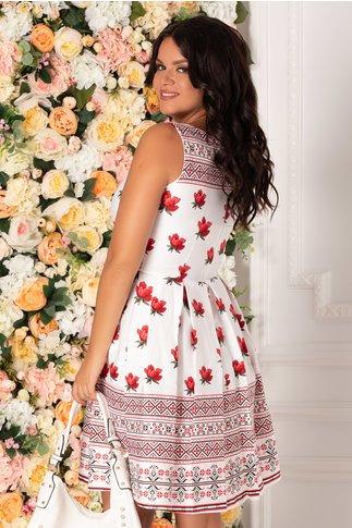 Rochie Ilinca alba cu imprimeu floral si motive traditionale