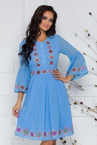 Rochie Ilinca bleu cu motive traditionale si maneci tip clopot