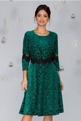 Rochie Ilinca din catifea verde cu broderie