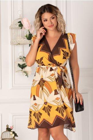 Rochie Ilinca scurta cu imprimeuri geometrice in nuante de ivoire galben si maro