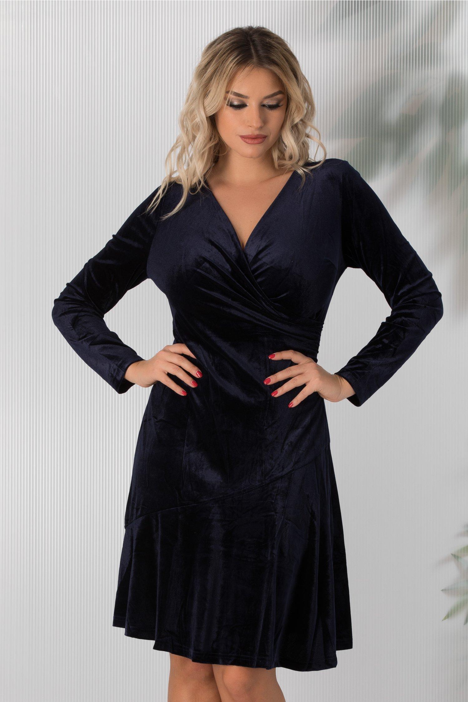 Rochie Ilinka bleumarin de catifea