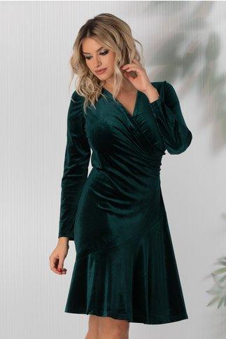 Rochie Ilinka verde de catifea
