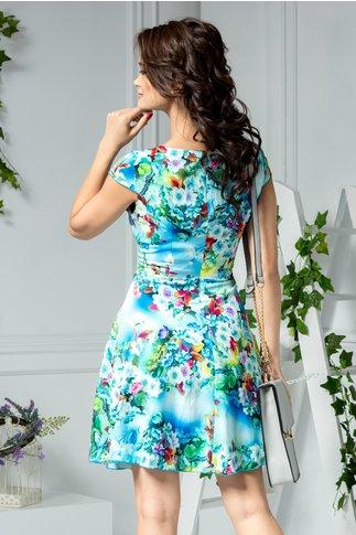 Rochie Ilona bleu de vara cu imprimeu trifoi colorat