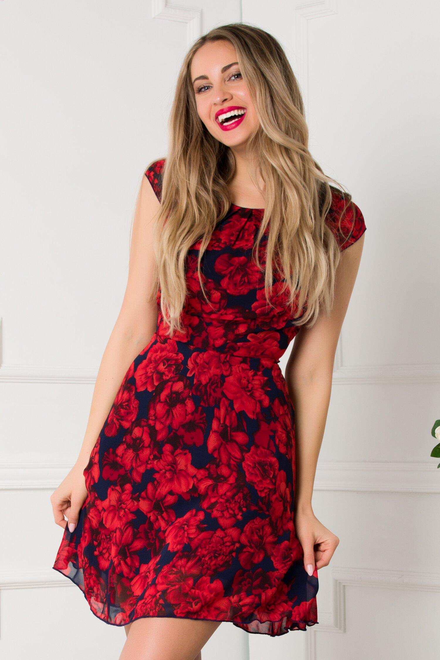 Rochie Ilona bleumarin cu trandafiri rosii
