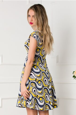 Rochie Ilona cu imprimeuri geometrice albastru-galben