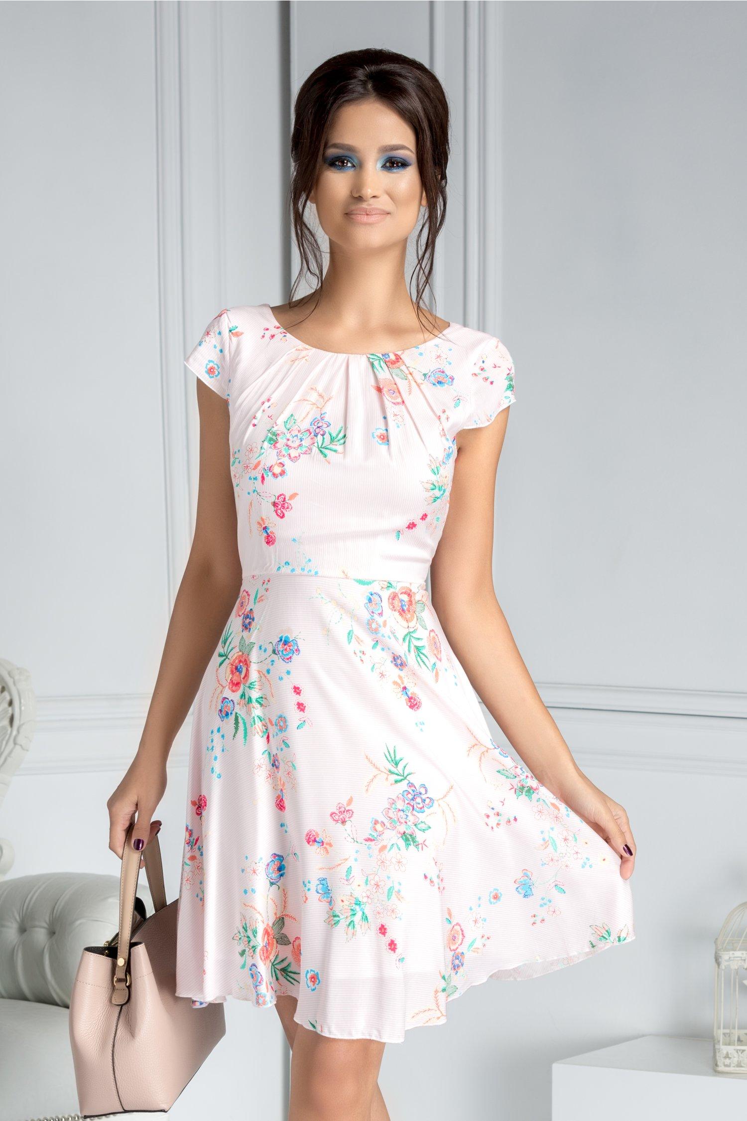 Rochie Ilona de vara alba cu dungi roz si flori