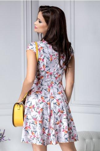 Rochie Ilona de vara alba cu floricele
