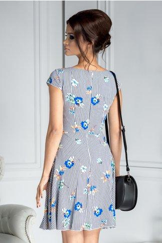 Rochie Ilona de vara cu dungi negre si flori albastre