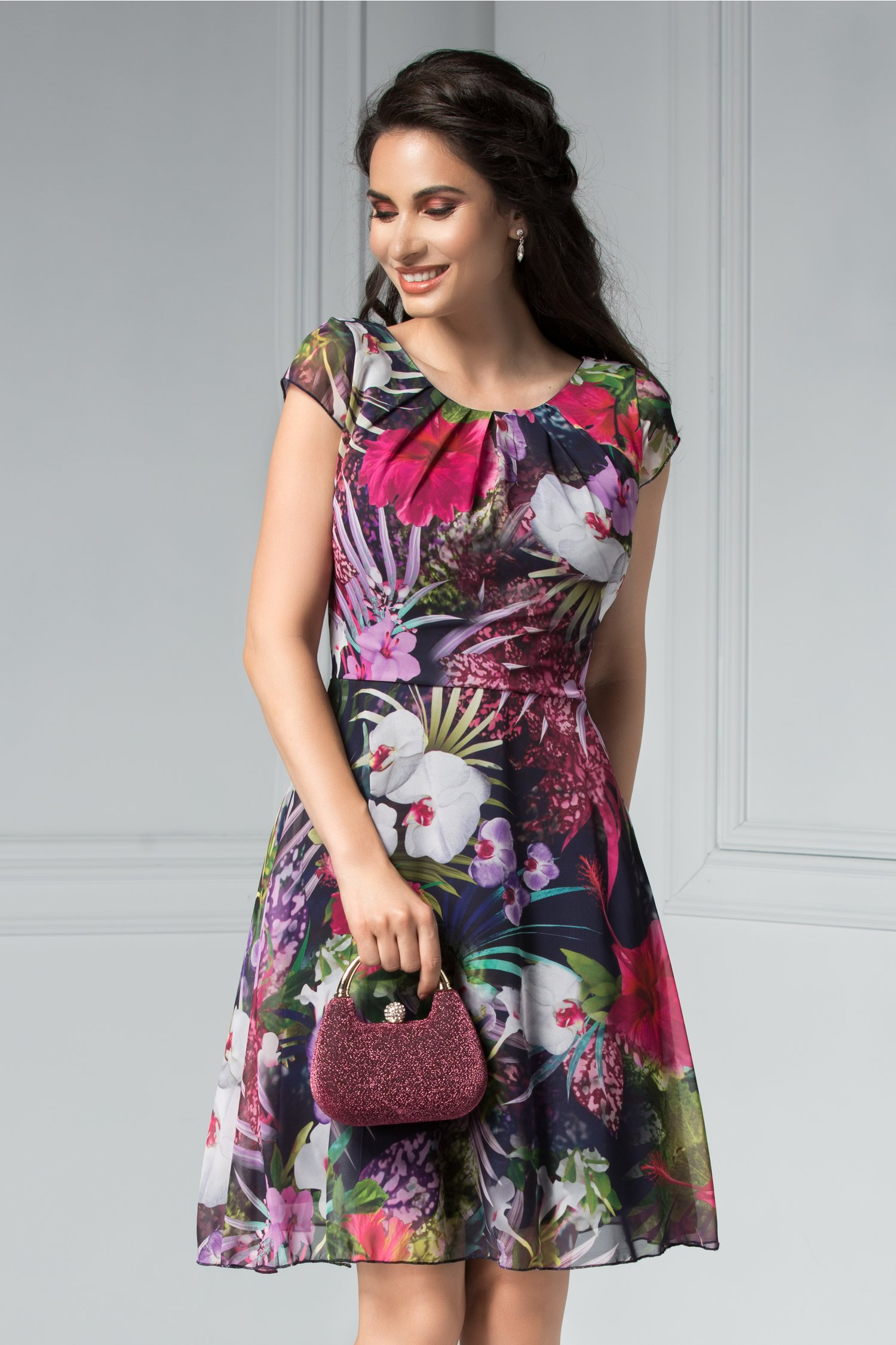 Rochie Ilona de vara cu imprimeu floral mov