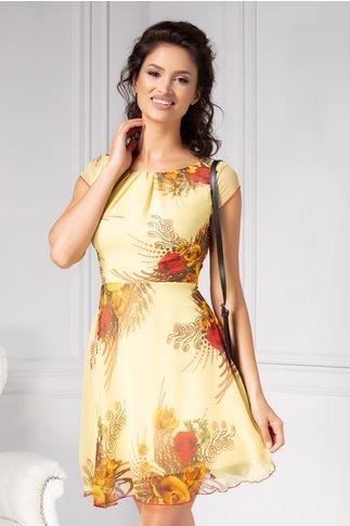 Rochie Ilona galbena de vara cu imprimeu floral