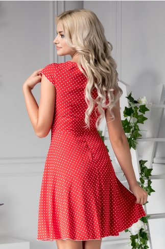 Rochie Ilona rosie cu buline albe de zi