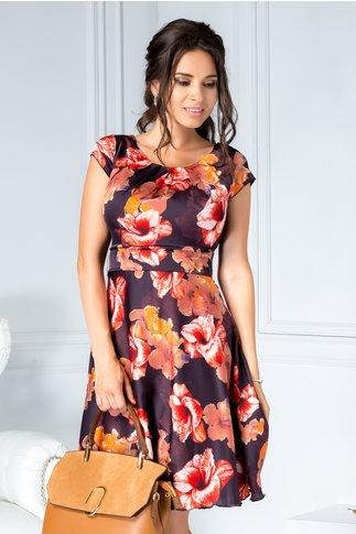 Rochie Ilona scurta din voal cu flori oranj si rosii