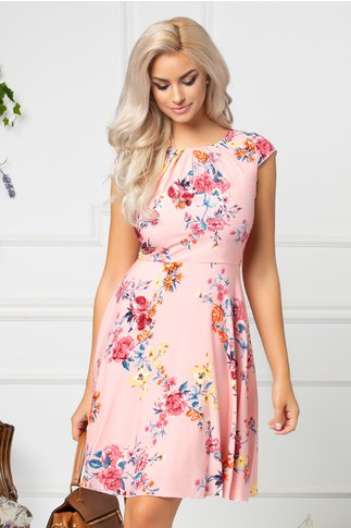 Rochie Ilona scurta roz cu imprimeu floral