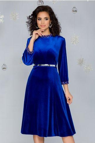 Rochie Imari albastra din catifea accesorizata cu strasuri si curea in talie