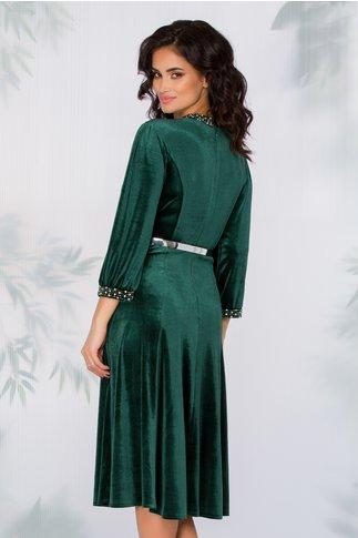 Rochie Imari verde din catifea accesorizata cu strasuri si curea in talie