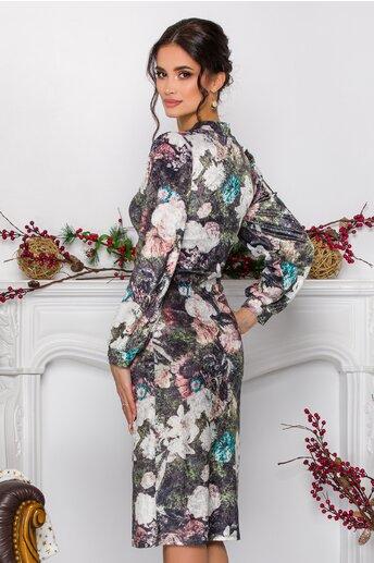 Rochie Silva kaki cu flori din material catifelat