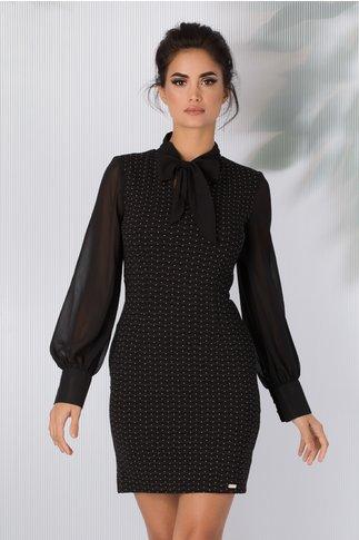 Rochie Ines neagra cu imprimeu cu dungi si picatele albe