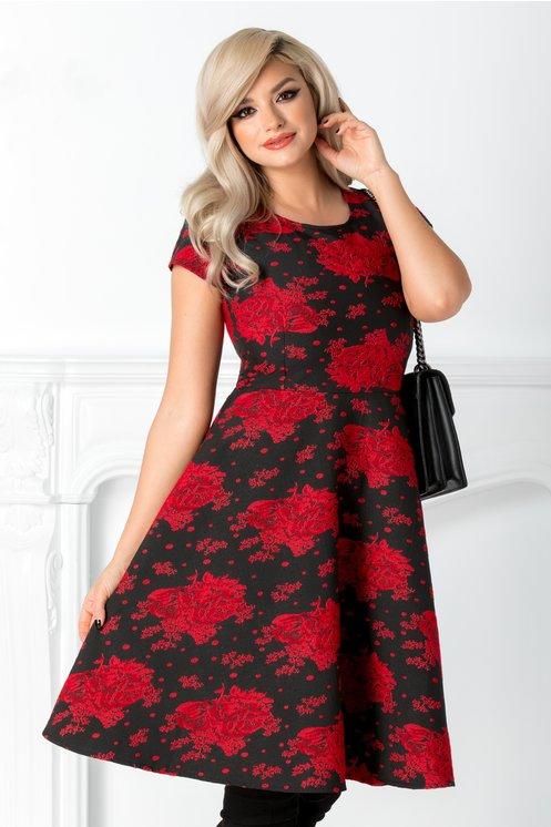 Rochie Ingrid clos neagra cu motive florale rosii