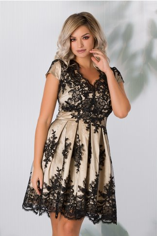 Rochie Ingrid crem cu dantela florala neagra