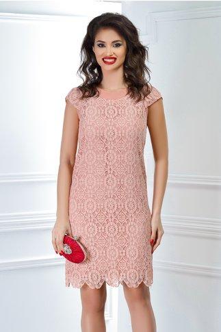 Rochie Inna roz pudra din dantela croi drept