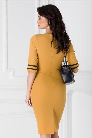 Rochie Ioana galben mustar cu benzi negre si fronseuri in talie