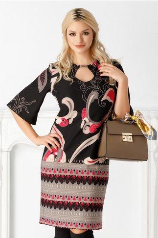 Rochie Ioana neagra cu imprimeuri roz-gri
