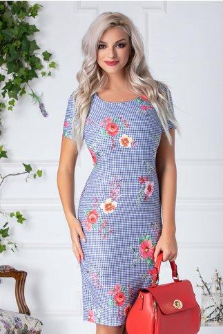 Rochie Iolly conica office cu patratele albastre si flori roz