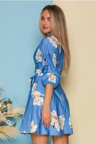 Rochie Ionela albastra cu imprimeu floral