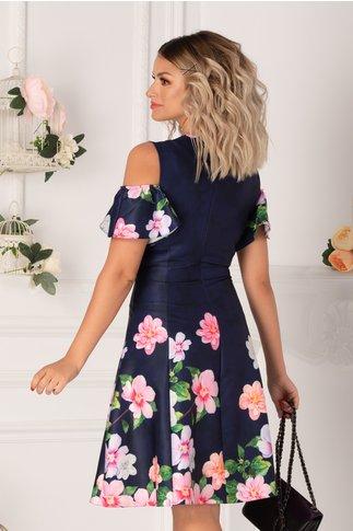 Rochie Ionela bleumarin cu imprimeu floral colorat in nuante de lila, gri si roz si maneci decupate