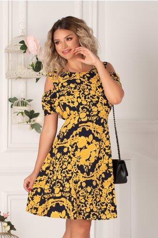 Rochie Ionela bleumarin cu imprimeu floral galben si maneci decupate