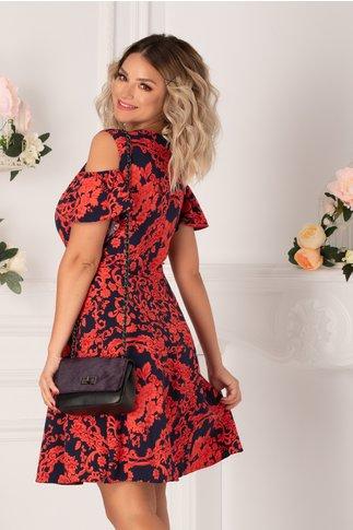 Rochie Ionela bleumarin cu imprimeu floral rosu zmeura si maneci decupate