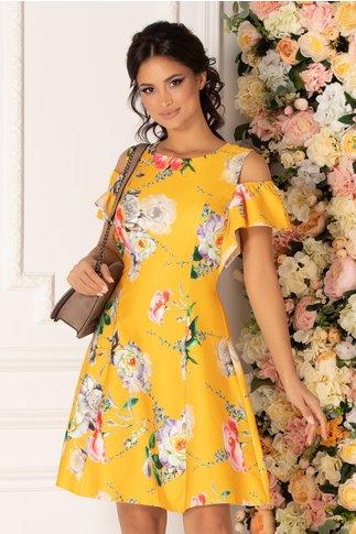 Rochie Ionela galbena cu imprimeu floral multicolor si maneci decupate