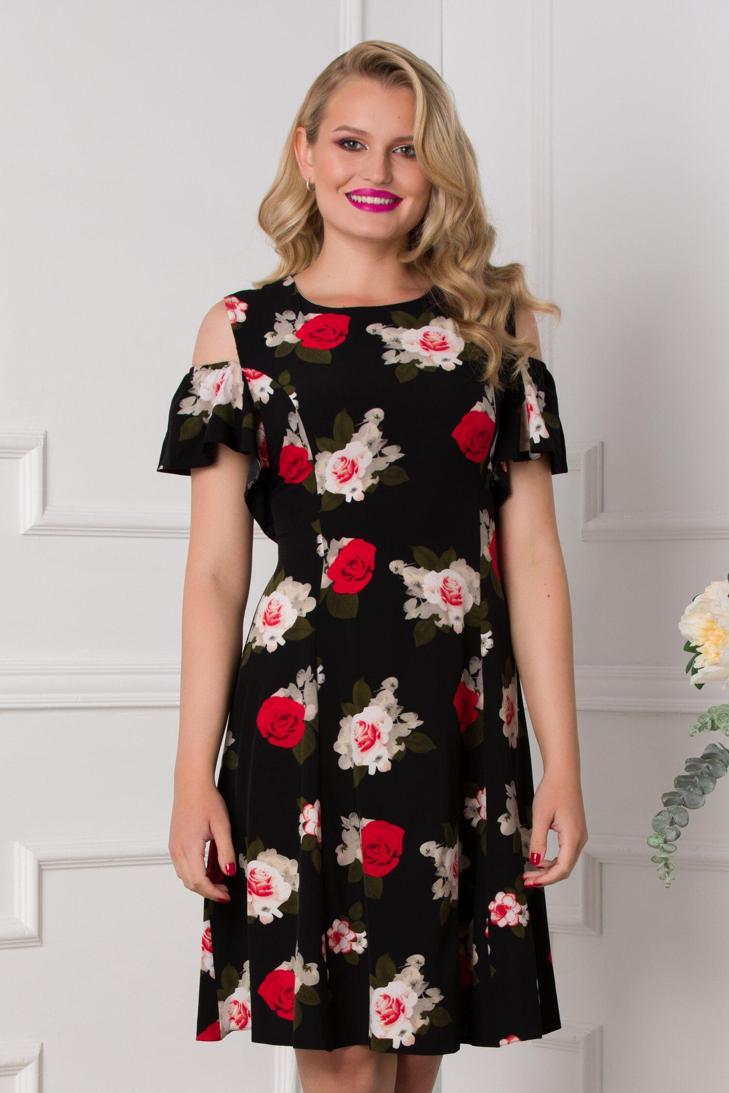 Rochie Ionela neagra cu imprimeu floral cu trandafiri si maneci decupate