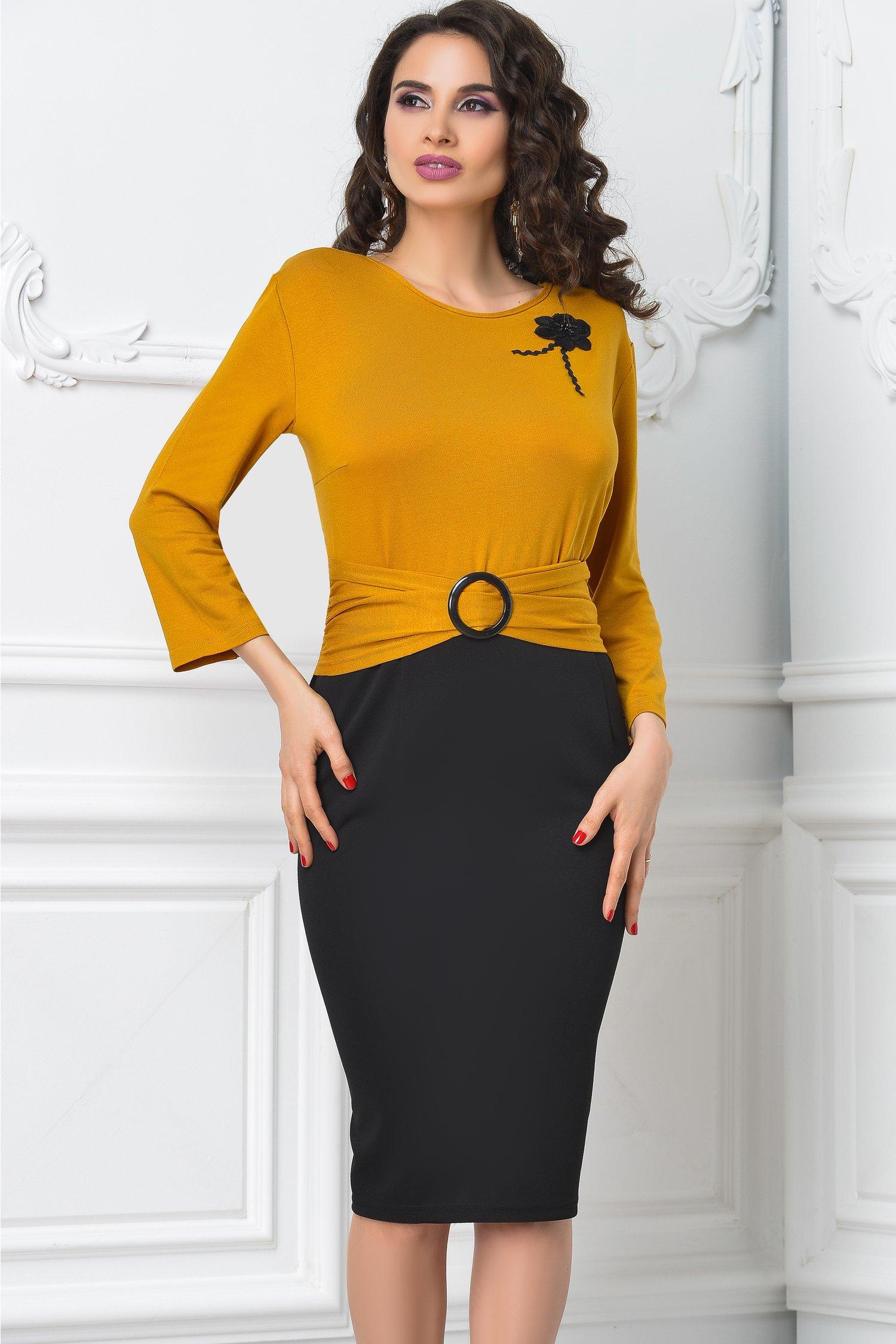 Rochie Iovana midi office negru cu mustariu