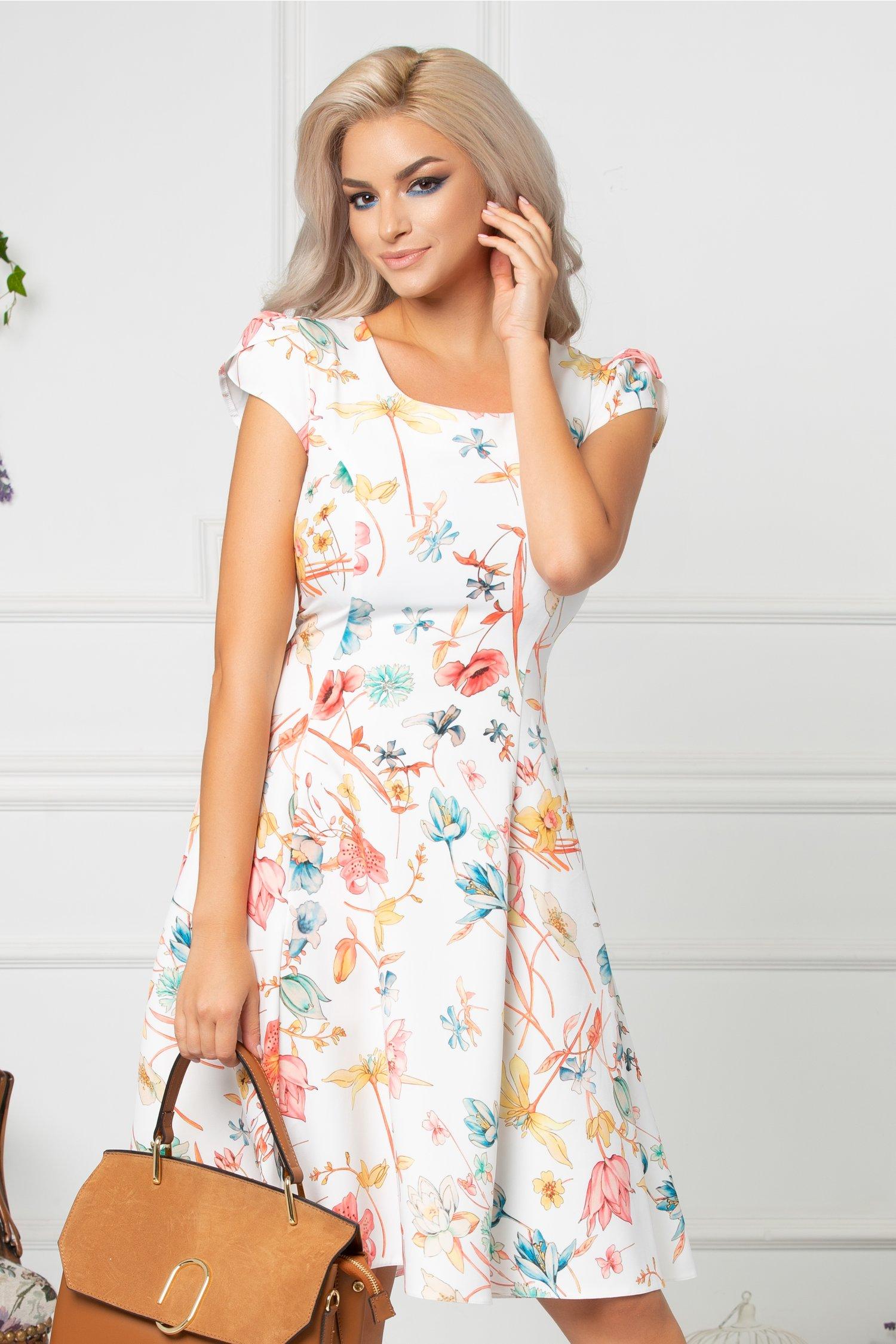 Rochie Ivonna de vara cu detalii florale colorate