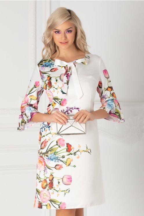 Rochie Ira alba cu imprimeu floral