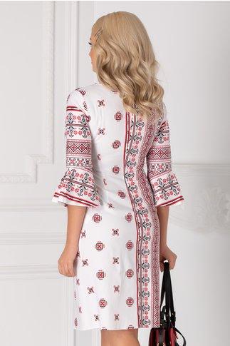 Rochie Ira alba cu motive traditionale rosu si negru