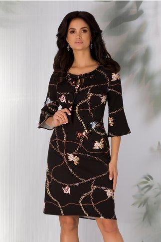 Rochie Ira neagra cu imprimeu chain si flori