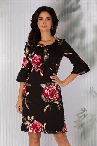 Rochie Ira neagra cu imprimeu floral marsala
