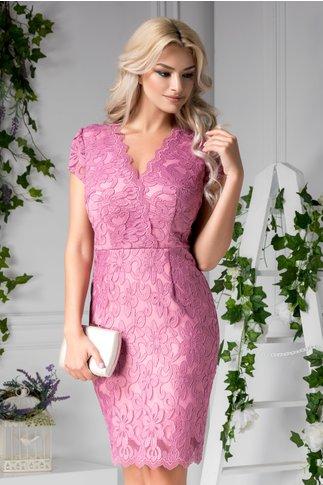 Rochie Irene roz din dantela de ocazi