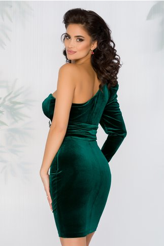 Rochie Irene verde din catifea cu o singura maneca