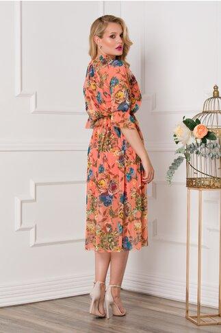 Rochie Irina din tull orange cu imprimeuri florale