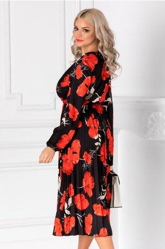 Rochie Irissa neagra cu imprimeu floral rosu si decolteu petrecut