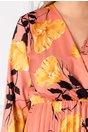 Rochie Irissa somon cu imprimeu floral galben si decolteu petrecut