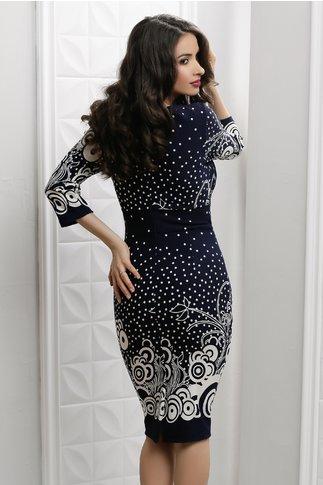 Rochie Irma bleumarin cu cercuri albe