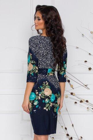 Rochie Irma bleumarin cu imprimeu divers floral si cu picatele