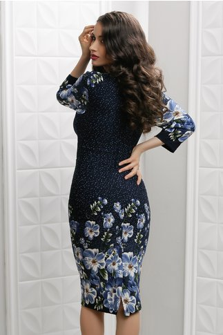 Rochie Irma Daisy bleumarin cu imprimeuri