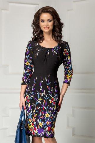 Rochie Irma neagra cu imprimeu floral colorat divers